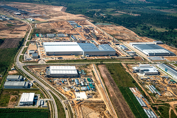 Industrial estate land development aerial view